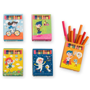 Simon Coll Milk Chocolate Sticks 20g Family of 5 comic style designs