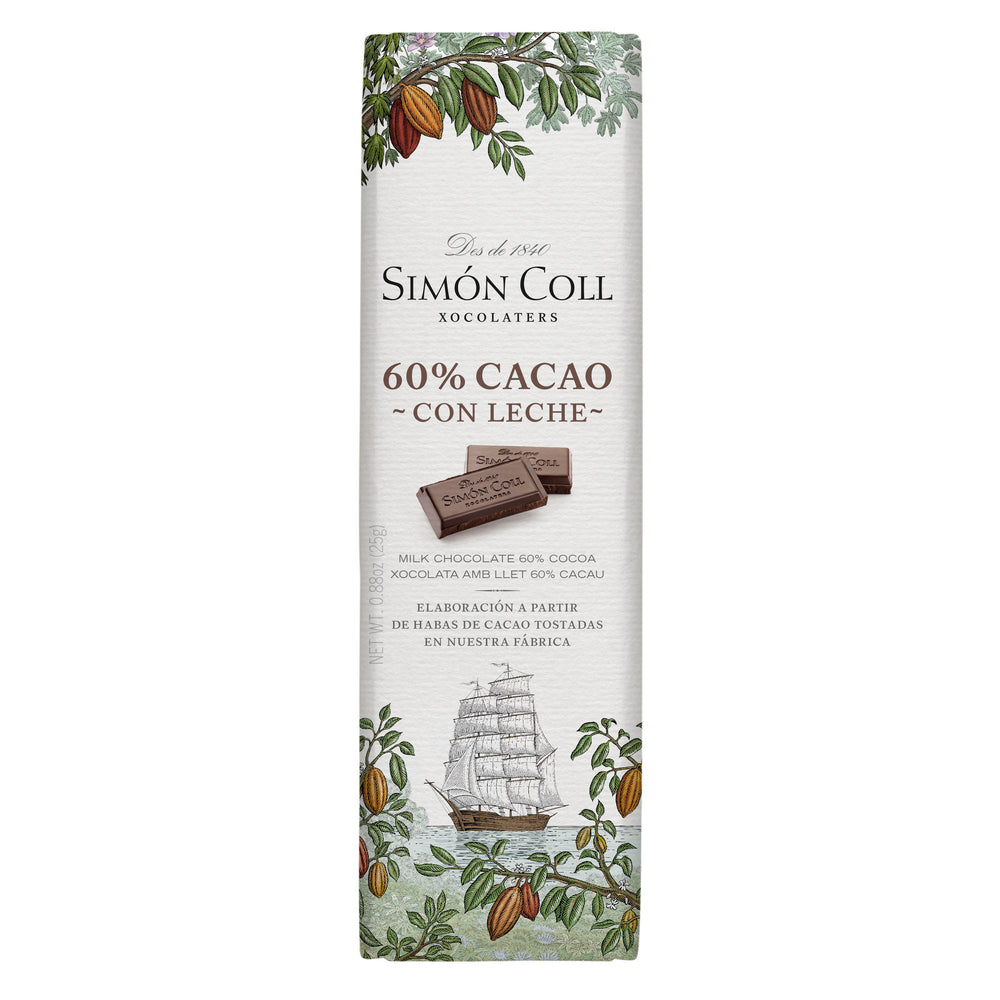 Simon Coll Chocolate 60% Cocoa & Milk 25g Bar_19th Century Sailboat wrapping