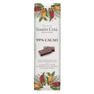 Simon Coll Chocolate 99% Cocoa dark chocolate 25g Bar