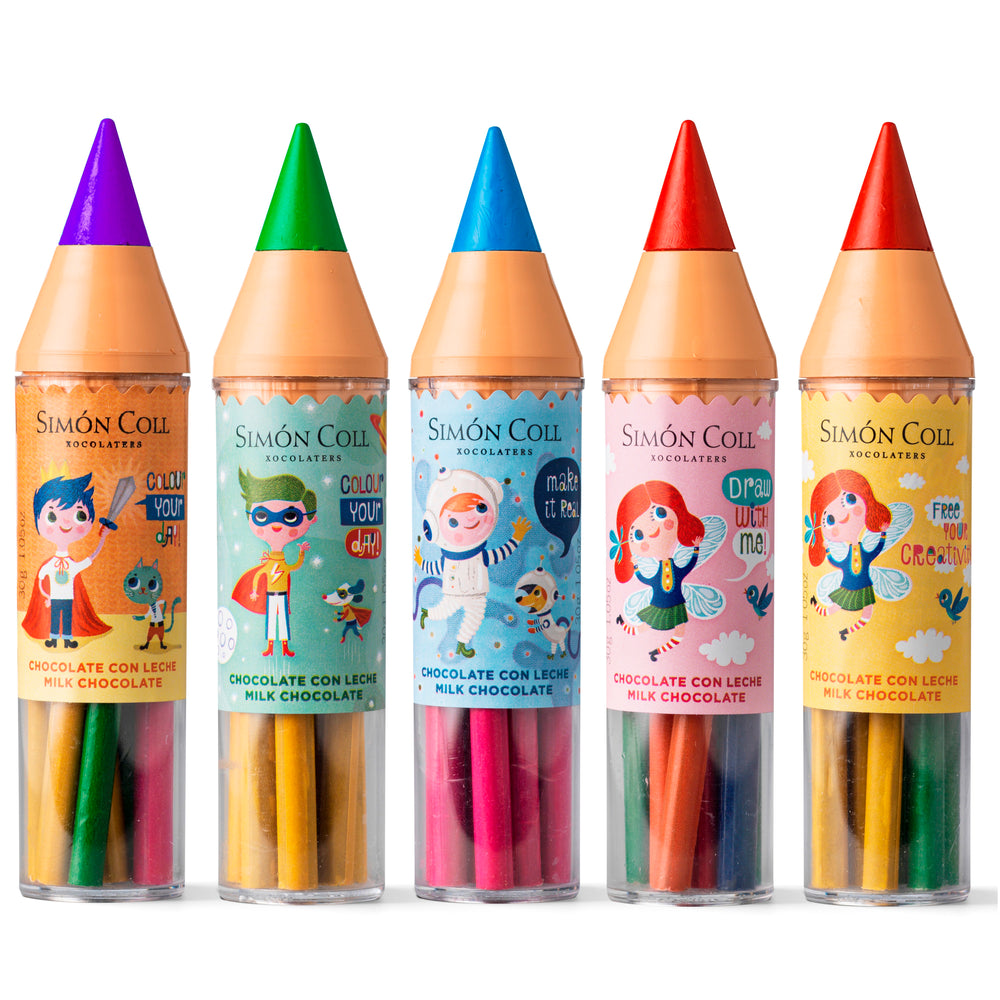 Simon Coll Milk Chocolate Super Colour Pencil sticks 30g Comic style Family of 5