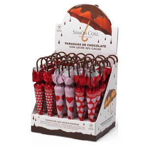 Simon Coll Milk Chocolate Umbrellas Hearts 35g Pack of 30 Units Valentines Chocolate