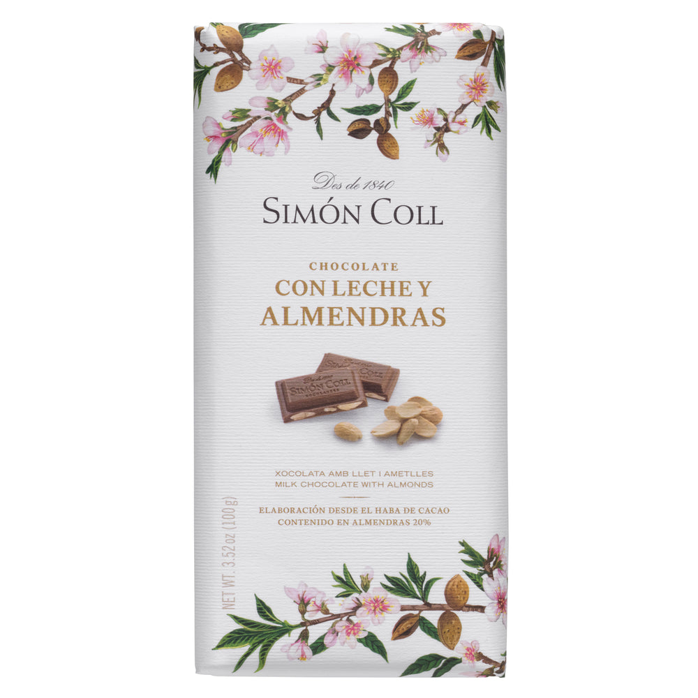 Simon Coll Milk Chocolate & Almonds 100g Bar