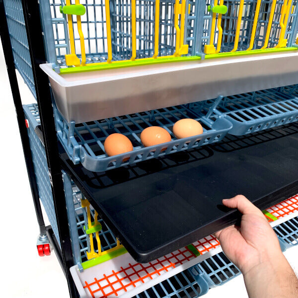 Manure Tray sliding out of Cimuka chicken cage - Hatching Time - MT03