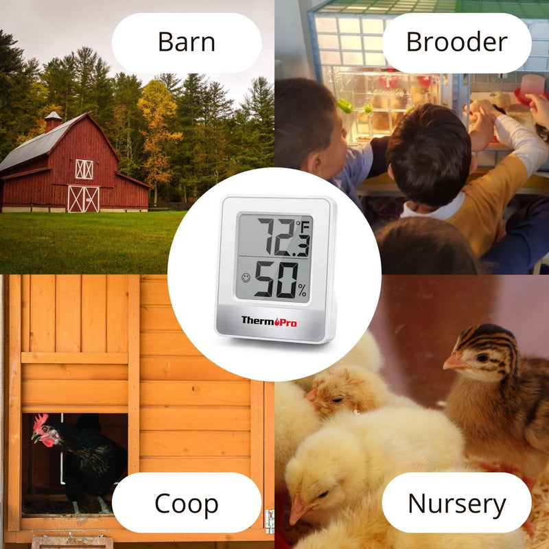 Use thermometer in barn, brooder coop or nursery - Hatching Time