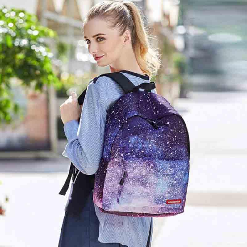Women Universe Space Backpack With Drawstring Bag & Pencil Case 3pcs