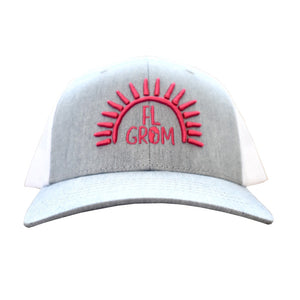 FL Grom Youth Trucker Hat - Gray/White/Fuchsia