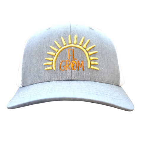 FL Grom Youth Trucker Hat - Gray/White/Yellow/Orange