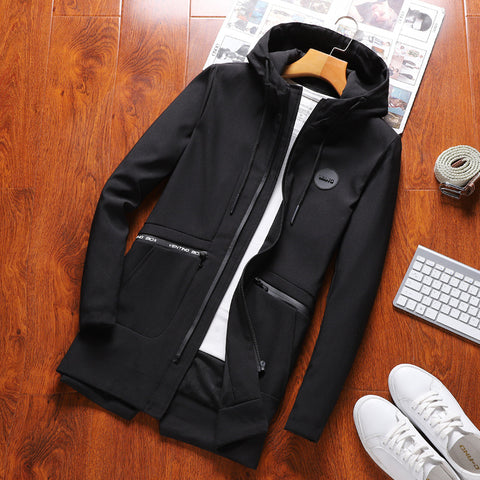Men's casual solid color hooded zipper loose jacket