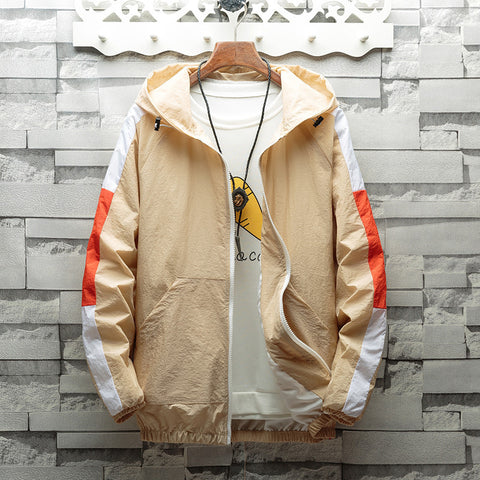 Mens Loose Fashion Casual Hooded Jacket