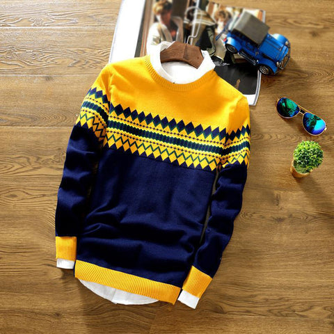 Vintage fashion blue round neck pullover