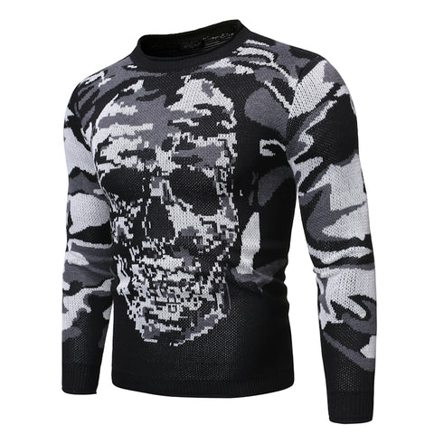 Round neck camouflage skull knit sweater