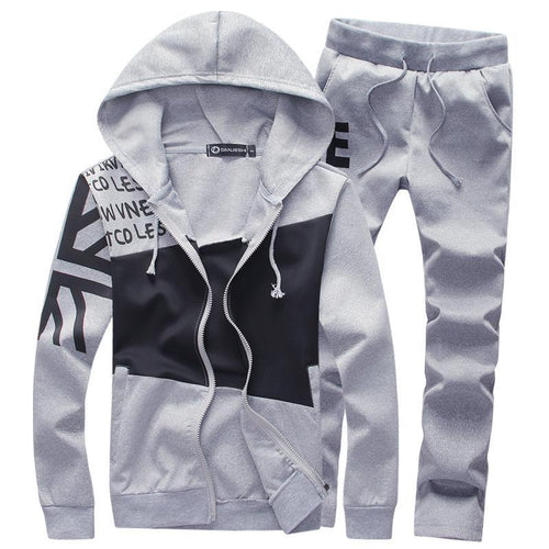 Fashion Letter Hooded Men's Slim Sports Suit
