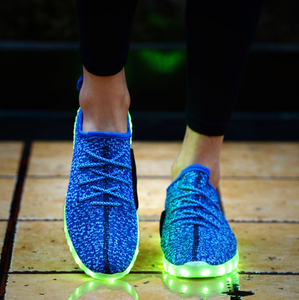 Fluorescent Green Luminous Mesh Cloth LED Shoes