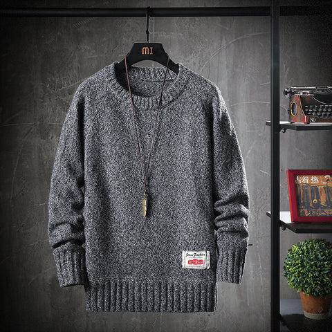 Male Autumn And Winter Thick Round Neck Sweater