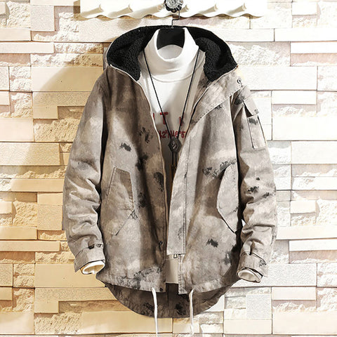 Camouflage Hooded Warm Lamb Fur Coat Cotton Coat