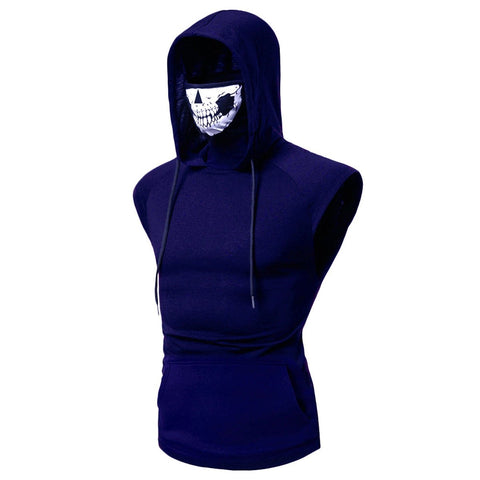 Summer Men's Personality Ninja Suit Hooded Vest Skull Mask Printing