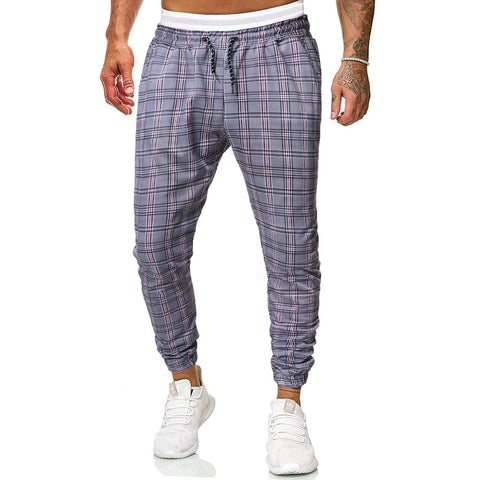Men's Casual Belted Plaid Elastic Waist Tight Pants