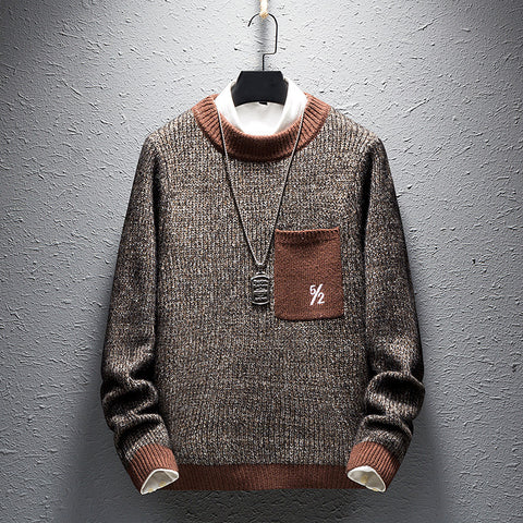 Casual Men'S Round Collar Long Sleeved Knitted Sweater
