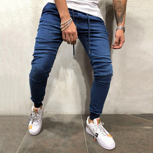 Men's casual solid color sports beam jeans