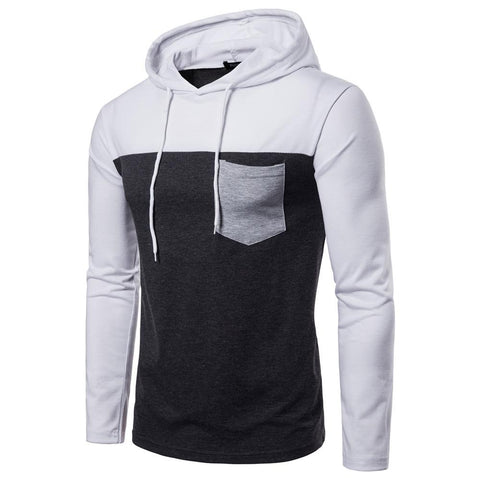 Contrast Color Stitching Pocket Decoration Hooded Long Sleeve
