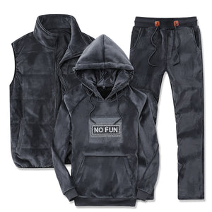 Three-Piece Set Men Autumn/Winter Warm Tracksuit