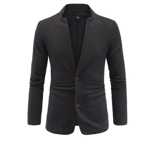 Fashion Gentle Business Solid Color Long Sleeve Men Suit Outerwear