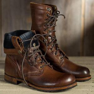 Men Lace-Up Chunky Heel Motorcycle Boots Knight Boots