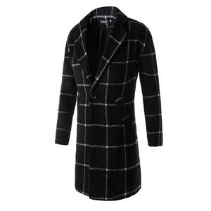 Fashion Hot Sale Classic Lapel Woolen Plaid Long Coat