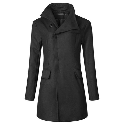 Fashion Lapel Collar Plian Long Woolen Coat