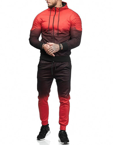 Men's Casual Sports Set Gradient Stripe Set