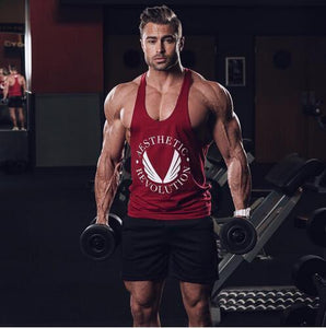 Bodybuilding And Fitness Pure Cotton I String Vest Male Sports Vest