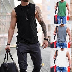 Fashionable Round Collar Plain Color Vest