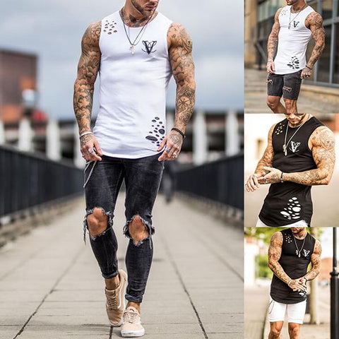 Fitness Fashion Curved Hem Slim Ripped Tank