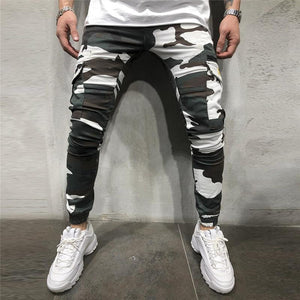 Fashion Camouflage Printed Zipper Tooling Style Jogger Pants