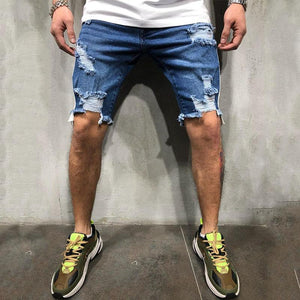 Men's Fashion Street Denim Hole Shorts
