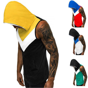 Summer Men's Colorblock Hooded Fitness Vest