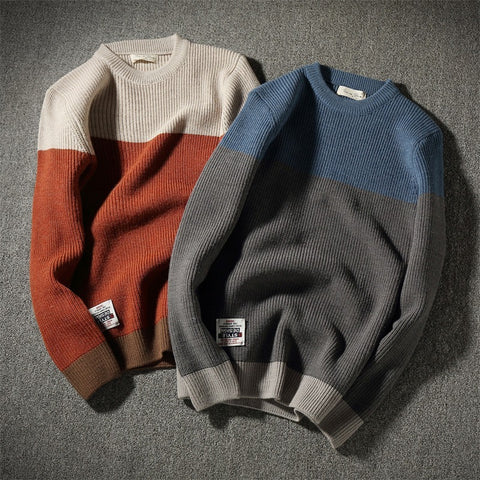 Mens Vintage Thick Round Neck Pullover