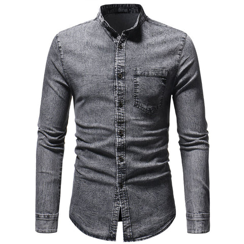 Fashion Casual Stand Collar Pocket Single-Breasted Denim Shirts