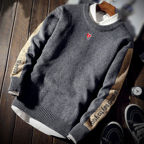 Casual Men Round Neck Letters Sweater