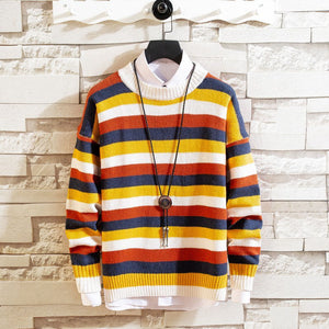 Men's Striped Round Neck Long Sleeve Sweater