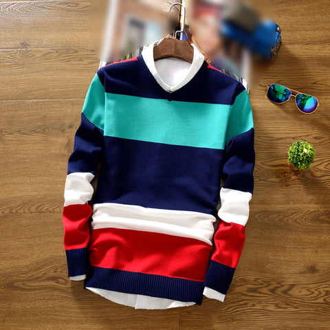 Men Slim Round Neck Color Matching Casual Sweater