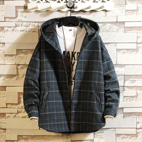 Hooded Plaid Casual Padded Woolen Coat