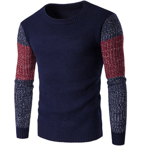 Men's casual round neck contast color loose sweater