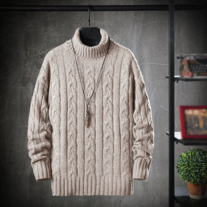 Mens High Collar Thick Needle Loose Sweater