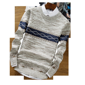 Men's round neck long sleeve color matching sweater