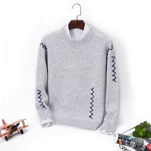 Casual round neck solid color men's sweater