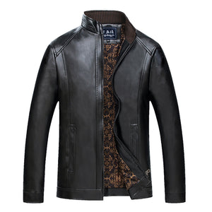 Middle-Aged Men's Stand Collar Fur Leather Jacket