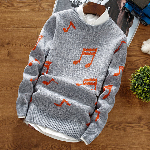 Fashion Men'S Round Collar Jacquard Knitted Sweater