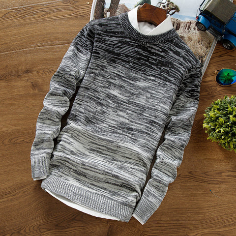 Mens Gradient Sweater Round Neck Pullover Sweater