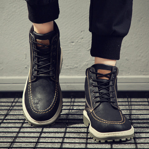 Fashion Men Flat Plain Round Toe Boots